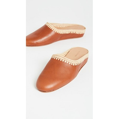 Carrie Forbes Women's Shoes Aziz Flat Mules Cognac/Natural inexpensive CFORB30046