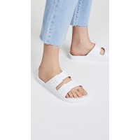 Freedom Moses Women's Moses Two Band Slides White  FMOSE30019