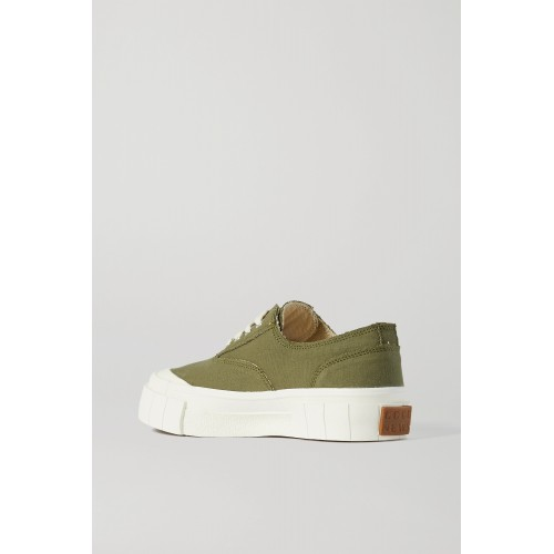 + NET SUSTAIN + Space for Giants frayed organic cotton-canvas sneakers Forest green UIWKD0UGC