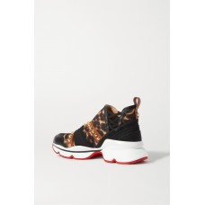 123 Run spiked leopard-print neoprene leather satin and grosgrain sneakers Leopard print T9AEF7SV9