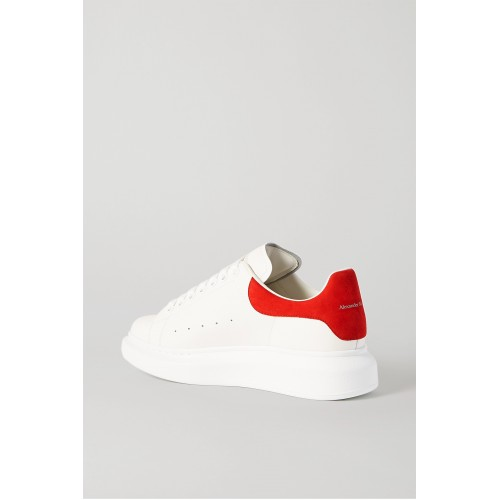 Suede-trimmed leather exaggerated-sole sneakers White IG6WDYQ2Y
