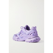 Track 2 logo-detailed mesh and metallic leather sneakers Lilac Ships Free HGFOMLV9H