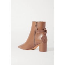 Clarita bow-embellished suede-trimmed leather ankle boots Neutral GZIOE7DX9