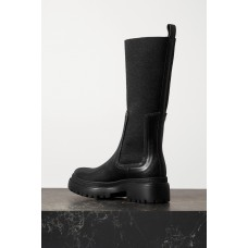 Bead-embellished cashmere-trimmed leather ankle boots Black SBNK8SOUO