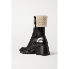 Betty shearling and leather-trimmed rubber ankle boots Black O2PYETRNR
