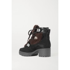 Leather-trimmed suede and shearling ankle boots Black FPPB1U5JN
