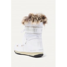 Monaco faux fur-trimmed shell and faux leather snow boots White D96ZAOED4