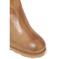 Shearling-trimmed leather knee boots Camel IR43POWEL