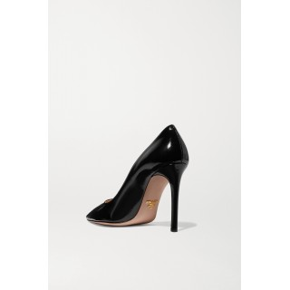 100 glossed textured-leather pumps Black HM4AEQL4P