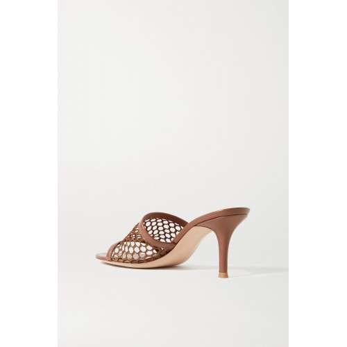 70 leather-trimmed fishnet mules Brown LBZPLDN55