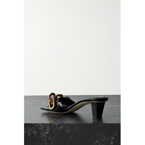 Catena embellished leather mules Black on clearance CGVYBVVVM