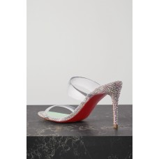 Just Strass 85 crystal-embellished PVC and iridescent leather sandals Silver high quality QWSN4L81H