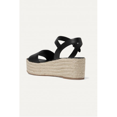 Leather espadrille platform sandals Black The Top Selling 3RCB7RIEE