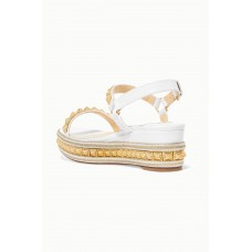Pyraclou 60 studded lizard-effect leather wedge sandals White Designer Sale H83BSUOPC