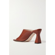 Women's Marie cutout leather mules Brown New Look YI0CZ3LVS