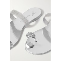 Crystal-embellished metallic leather and rubber sandals Silver outfits 3A75OLR7B