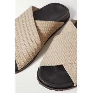 + NET SUSTAIN Arne woven leather slides Off-white new look 0MQLI66EP